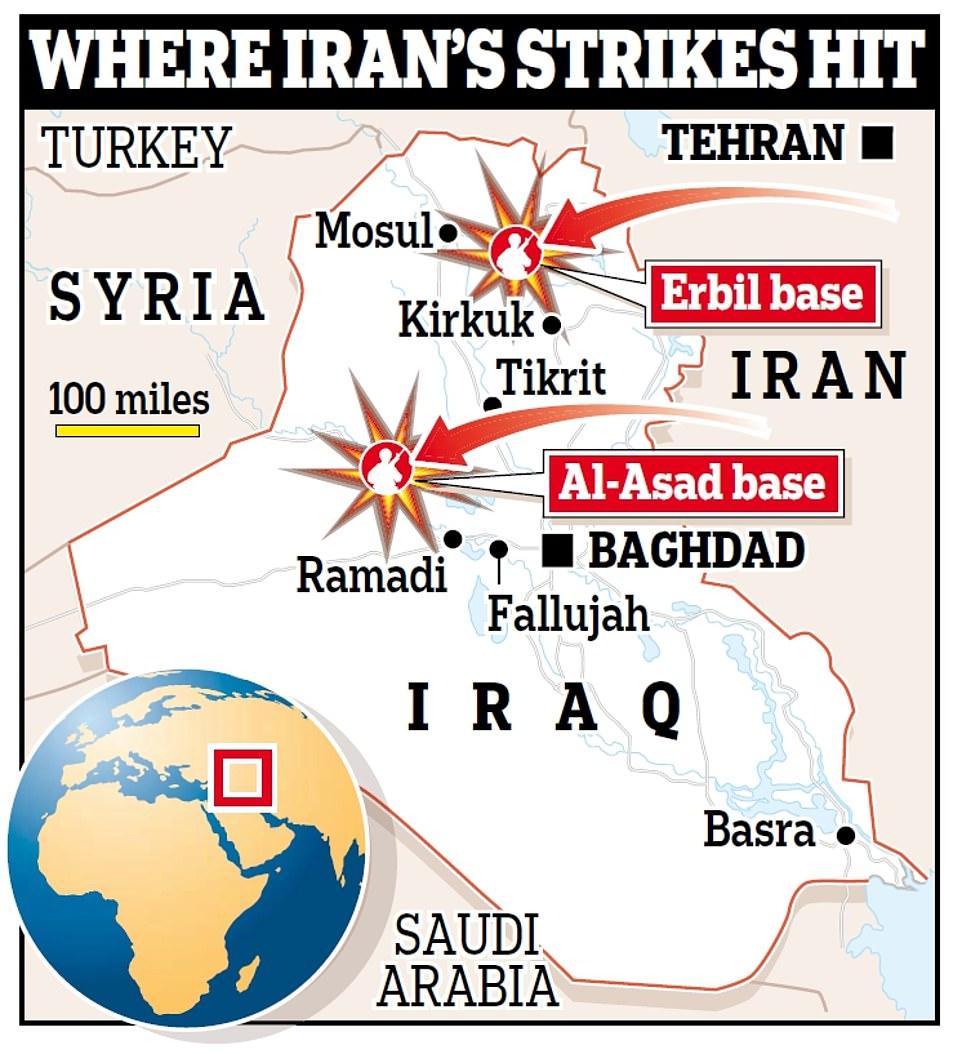 Χάρτης του Ιράκ με επιθέσεις κατά βάσεων