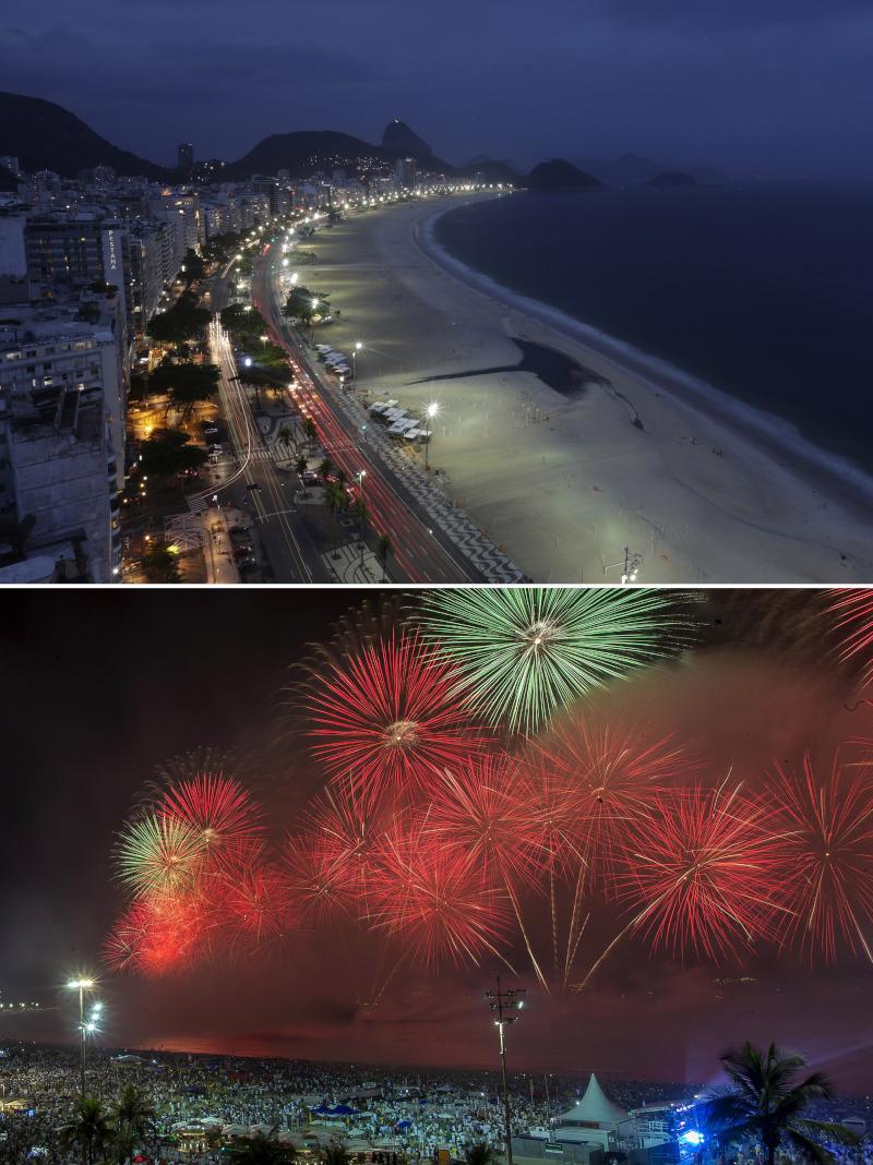 Άδεια η διάσημη παραλία Κοπακαμάνα της Βραζιλίας φέτος την Πρωτοχρονιά σε αντίθεση με την περσινή